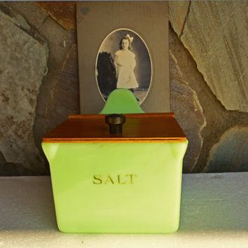 Vintage Jeannette Glass Jadeite Salt Box with Wooden Lid, Highly Collectible Original Jadite, Gift Idea for the Collector