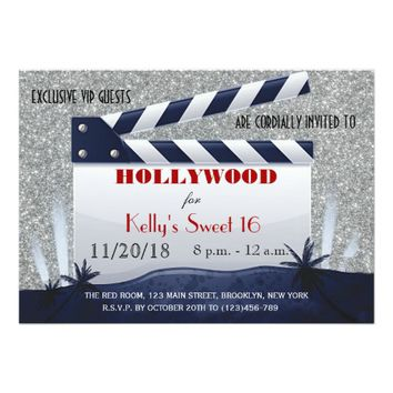 Glitter Hollywood Sweet 16 Birthday Invitation