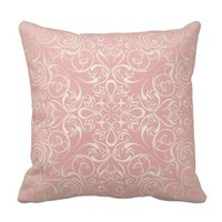 Vintage,pink,floral,victorian,gold,elegant,pattern Throw Pillows