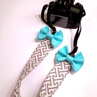 DSLR Camera Strap Cover, Canon and Nikon Compatible Grey & White Geometric Pattern with Aqua Bow