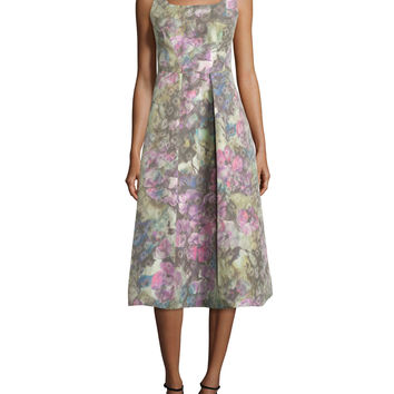 Sleeveless Muted Floral-Print Dress, Size: