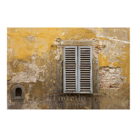 Rustic Shutters Window Photo Old Gold Wall Florence Italy Pale Blue Honey Gold 8x12 Small Print Travel Photography