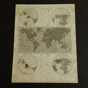 """EARTH'S MAGNETIC FIELD Antique worldmap - 160+ years old vintage science poster about magnetism world map fields geomagnetic - 9x12"""""""