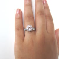 Same Day USA Shipping - 7mm Round Morganite Ring in 14k White Gold , .27ct Pave Diamond Halo Engagement Ring Claw Prongs