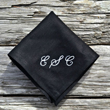 Personalized Black Linen Handkerchief Full Initials Monogram Pocket Square, Black Hanky, Black Linen Hankerchief, Embroidered Handkerchief