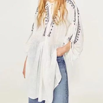 White Tie Front Embroidery Detail Lace Up Sleeve Side Split Blouse
