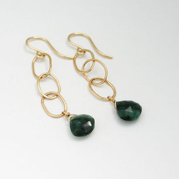 Gold filled and genuine emerald earrings. Gold dangle earrings with green emerald gemstone. May birthstone earrings. Handmade unique jewelry