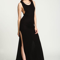 BLACK SLIT JERSEY KNIT MAXI DRESS