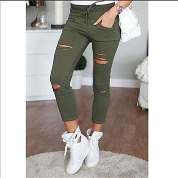 Womens Ladies Ripped Skinny Denim Jeans Cut High Waisted Jegging Trousers Pants