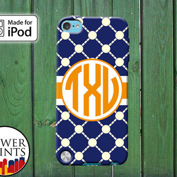 Blue Orange Latice Pattern Cute Tumblr Cool Custom Monogram for iPod Touch 4th Generation and iPod Touch 5th Generation Gen Plastic Rubber