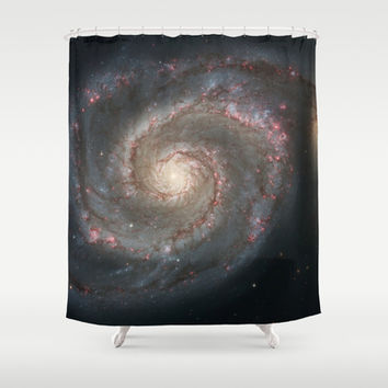 Bright spiral nebula galaxy stars hipster geek cool space star nebulae NASA photo sci-fi landscape Shower Curtain by iGallery