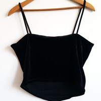 90s Spaghetti strap beaded black handkerchief velvet tank top