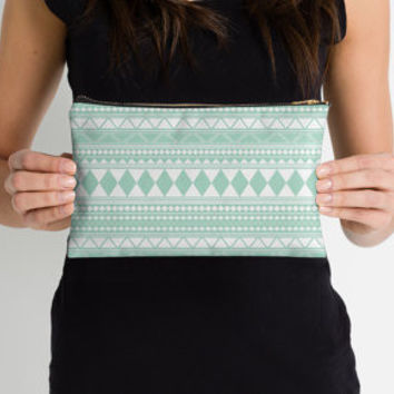 Tribal Zipper Pouch in Mint
