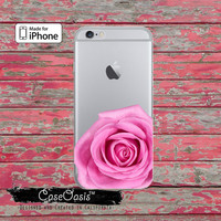 Pink Rose Flower Petals Pretty Floral Clear Phone Case For iPhone 6, iPhone 6 Plus +, iPhone 6s, iPhone 6s Plus +, iPhone 5/5s, iPhone 5c