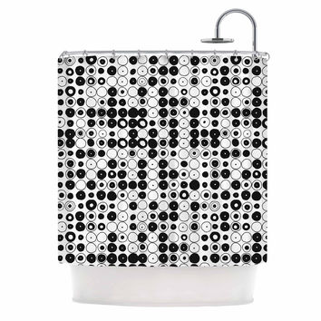 "Nandita Singh ""Black & White Funny Polka Dots"" White Abstract Shower Curtain"