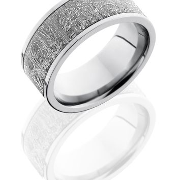 Cobalt Chrome wedding ring hand crafted 9mm Flat Band with 7mm Meteorite inlay