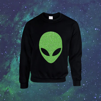 Green Glitter Alien UFO Moon Galaxy Planet Nebula Black Sweatshirt Slimepunk Seapunk 90s grunge