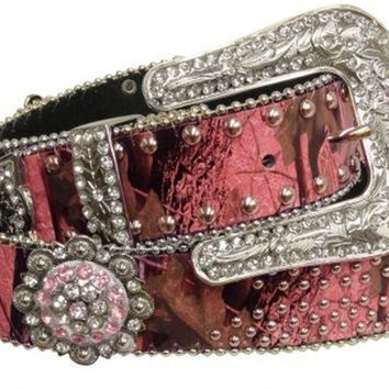 Western style bling pink camo belt with removable sunflower rhinestone beaded conchos buckle belt