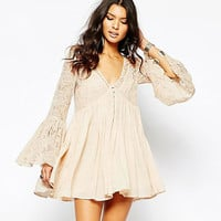 Beige Deep V Neck Flared Sleeve Lace Dress