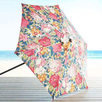 7' Navy Floral Aluminum Umbrella