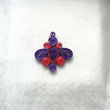 Hand Quilled Paper Art Abstract Design Pendant, Pink, Purple, Hand Made
