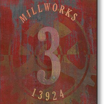Millworks Industrial Sign Red Grey Acrylic Print By Suzanne Powers