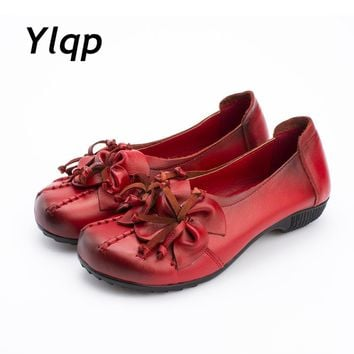 2017 New Autumn Women Flats Genuine Leather Shoes Women Casual Loafers Flower Flat Hee