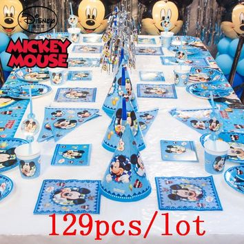 Mickey Mouse Theme 129Pcs Paper Cup Plate Napkin Cap Banner Straw Kid Birthday Party Disney Gift Bag Blowout Decoration Supply