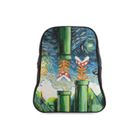 Piranha Plant Meets Van Gogh Painting Unisex Travel Backpack