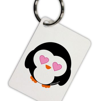 Cute Penguin - Heart Eyes Aluminum Keyring Tag by TooLoud