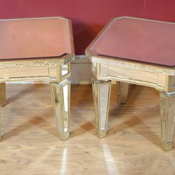 Canonbury - Pair Mirrored Coffee Side Tables Table Mirror Furniture