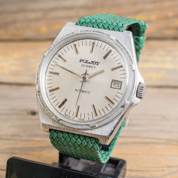 Vintage Poljot automatic mens watch, russian watch ussr ccp soviet watch
