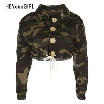 Trendy HEYounGIRL Camouflage Jacket Winter Bomber Women Windbreaker Crop Loose Coat Trun-down Collar Pocket Long Sleeve Zipper Outwear AT_94_13