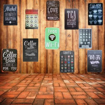Free WIFI Shabby Chic Home Bar Cafe Vintage Wall Decor