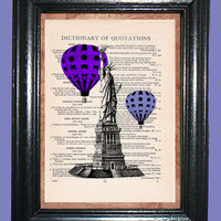 Statue of Liberty with Hot Air Balloons - Vintage Dictionary Page Art Upcycled Book Art Print on Dictionary Page, Balloon Print