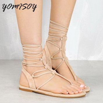Summer Women Shoes Fashion Sexy Bandage Flat Sandals Cross-tied Sexy Beach Sandals Shoes