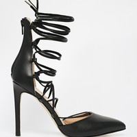 River Island Leather Tie Up Heeled Court Shoes