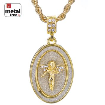 "Jewelry Kay style Men's Hip Hop Fashion Oval Medallion Angel Pendant 24"" Rope Chain Necklace"