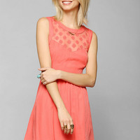 Pins And Needles Embroidered Mesh-Inset Dress - Urban Outfitters