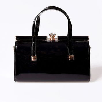Banned Vintage Style Black Patent Leatherette Top Frame Purse
