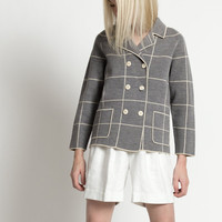 Vintage 60s Gray and White Grid Print Double Breasted Cardigan Sweater | M/L
