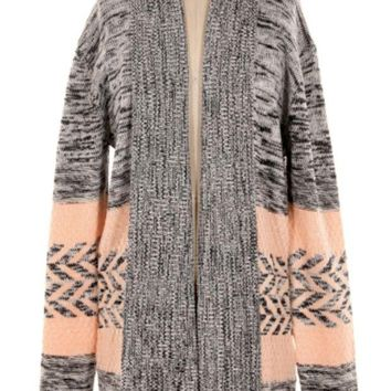DCCKAB3 Miss Duet Grey Chevron Knitted Shrug Cardigan