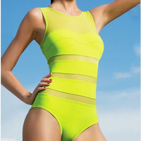 Yellow Mesh Insert Sheer Classical One Piece Monokini Swimsuit
