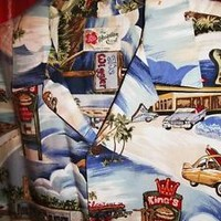 HILLO HATTIE HAWAIIAN SHIRT VINTAGE DINER 100% COTTON !SIZE 2XL!MADE IN HAWAII