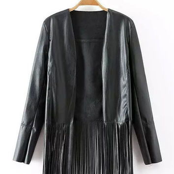 Black Faux Leather Long Sleeve Fringed Jacket