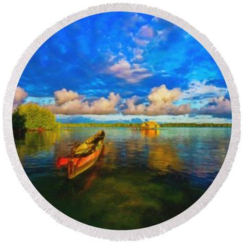 Pure Lagoon - Round Beach Towel