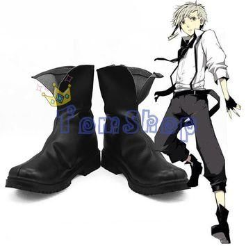 Anime Bungou Stray Dogs Atsushi Nakajima Cosplay Leather Boots Shoes Halloween Costume