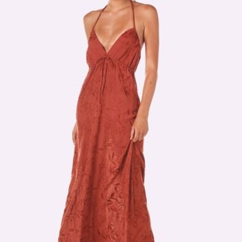 Malia Maxi Dress (Rust Embroidery)
