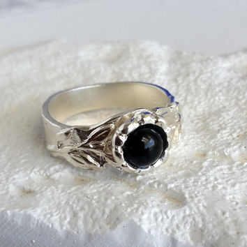 Onyx ring, black onyx ring, sterling silver, men's ring, women's ring, silver band ring, band ring, gemstone ring, handmade ring, gift ring
