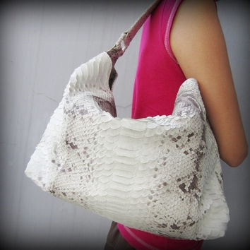 Python Leather Purse / Hobo Bag Natural White Slouchy by mrhanz